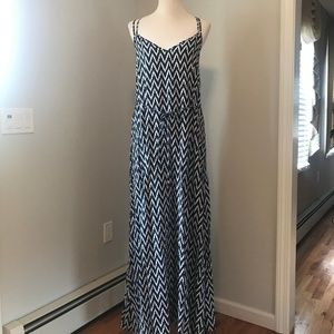 Navy Blue Patterned Gap Maxi Dress